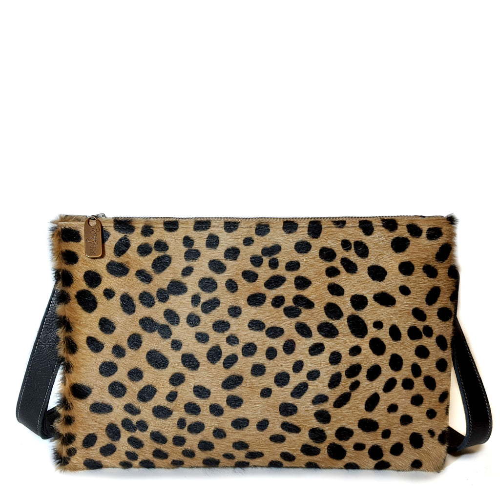 Cheetah Hairon S/M Crossbody, Clutch, Made in the USA