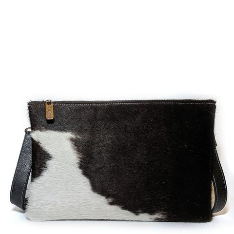 Nikki Clutch/Crossbody - Brown & White