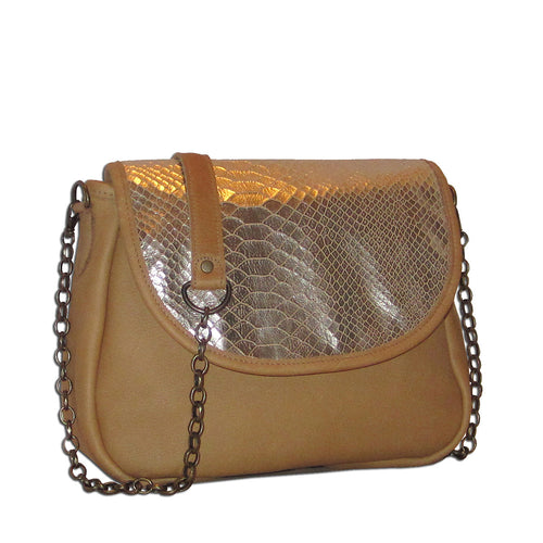 Sophie Mini Chain Crossbody - Golden Tan Snakeskin - Brynn Capella, Small Crossbody