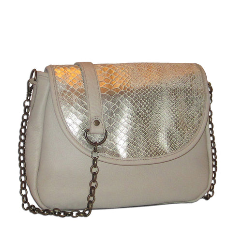 Sophie Mini Chain Crossbody - Silvery Vanilla Snakeskin - Brynn Capella, Small Crossbody