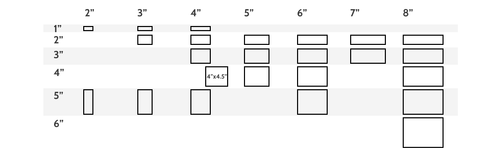 Rectangular tile sizes