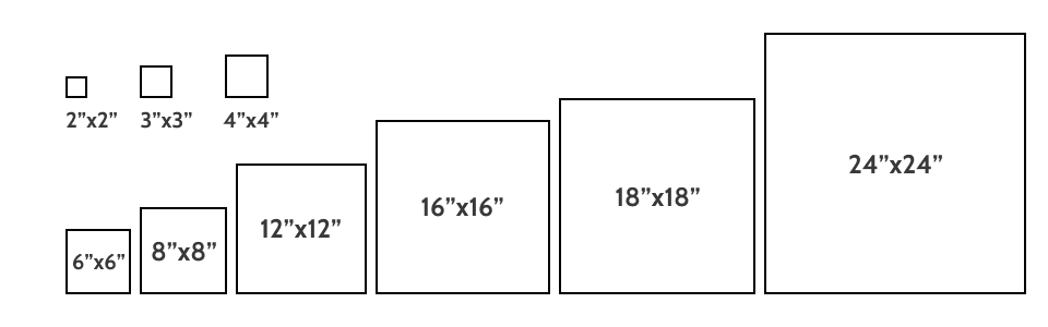 Square tile sizes
