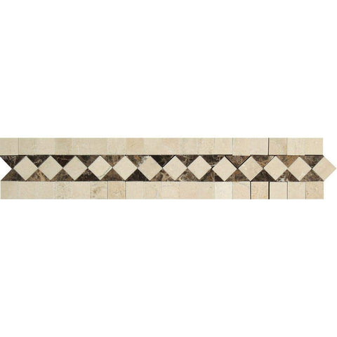 "Crema Marfil Marble Border - 2"" x 12"" Bias Border with Emperador Dark Dots Polished"