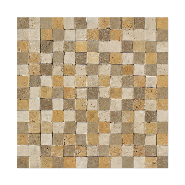 "3 Color Mixed Travertine Mosaic - 1"" x 1"" Split Face"