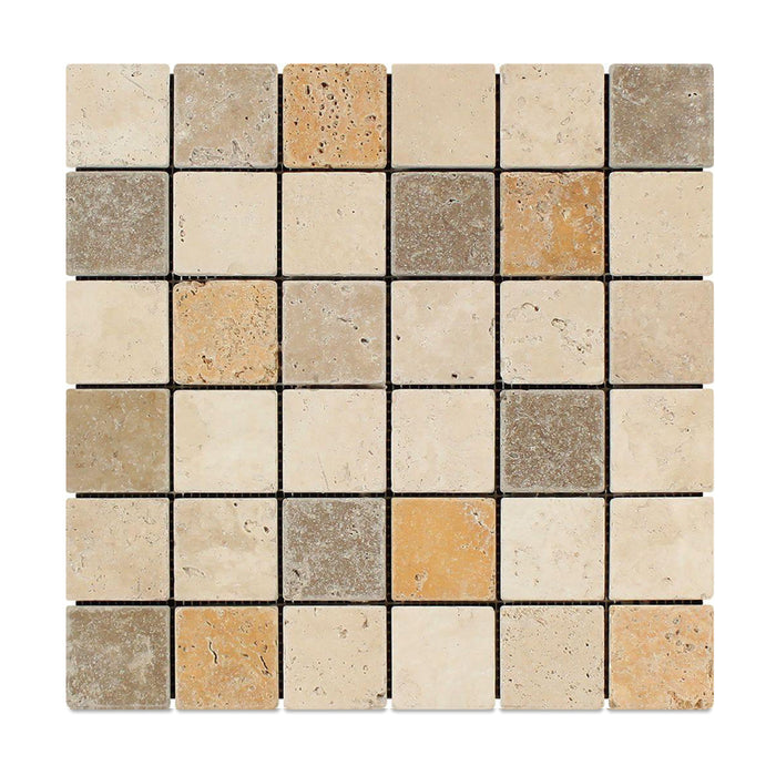 "3 Color Mixed Travertine Mosaic - 2"" x 2"" Tumbled"