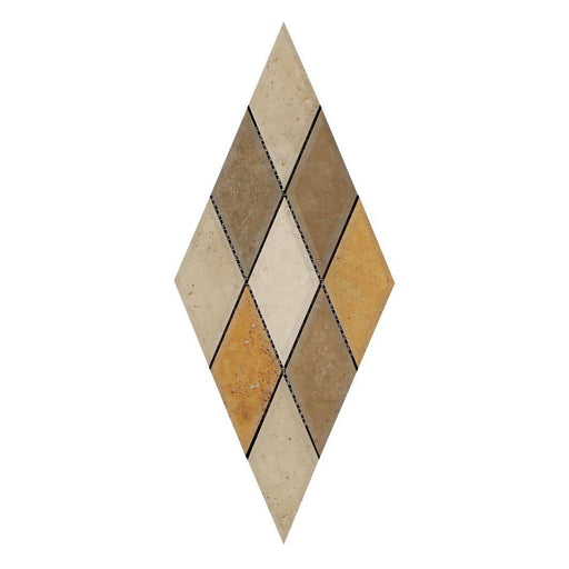 "3 Color Mixed Travertine Mosaic - 3"" x 6"" Beveled Diamond Honed"