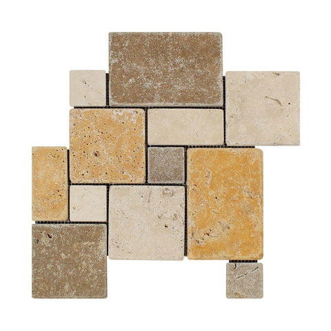 3 Color Mixed Travertine Mosaic - Opus Mini Pattern Tumbled