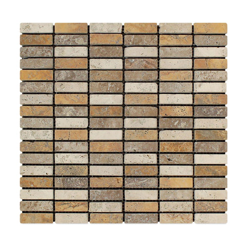 "3 Color Mixed Travertine Mosaic - 5/8"" x 2"" Stacked Tumbled"