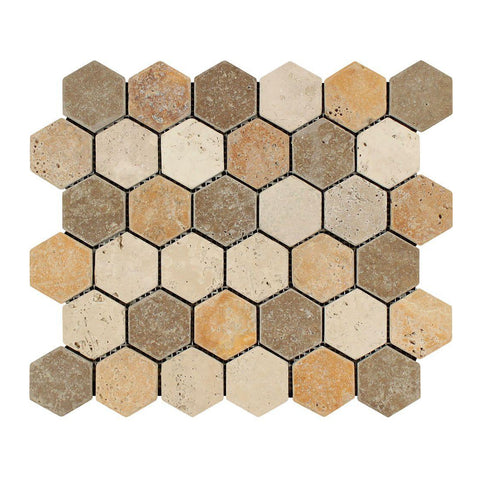 "3 Color Mixed Travertine Mosaic - 2"" Hexagon Tumbled"