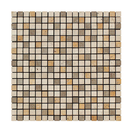 "3 Color Mixed Travertine Mosaic - 5/8"" x 5/8"" Tumbled"