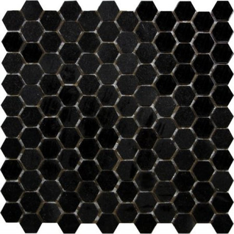 "Absolute Black Granite Mosaic - 1"" Hexagon Polished"