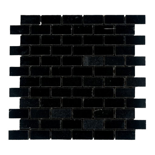 "Absolute Black Granite Mosaic - 1"" x 2"" Brick Polished"