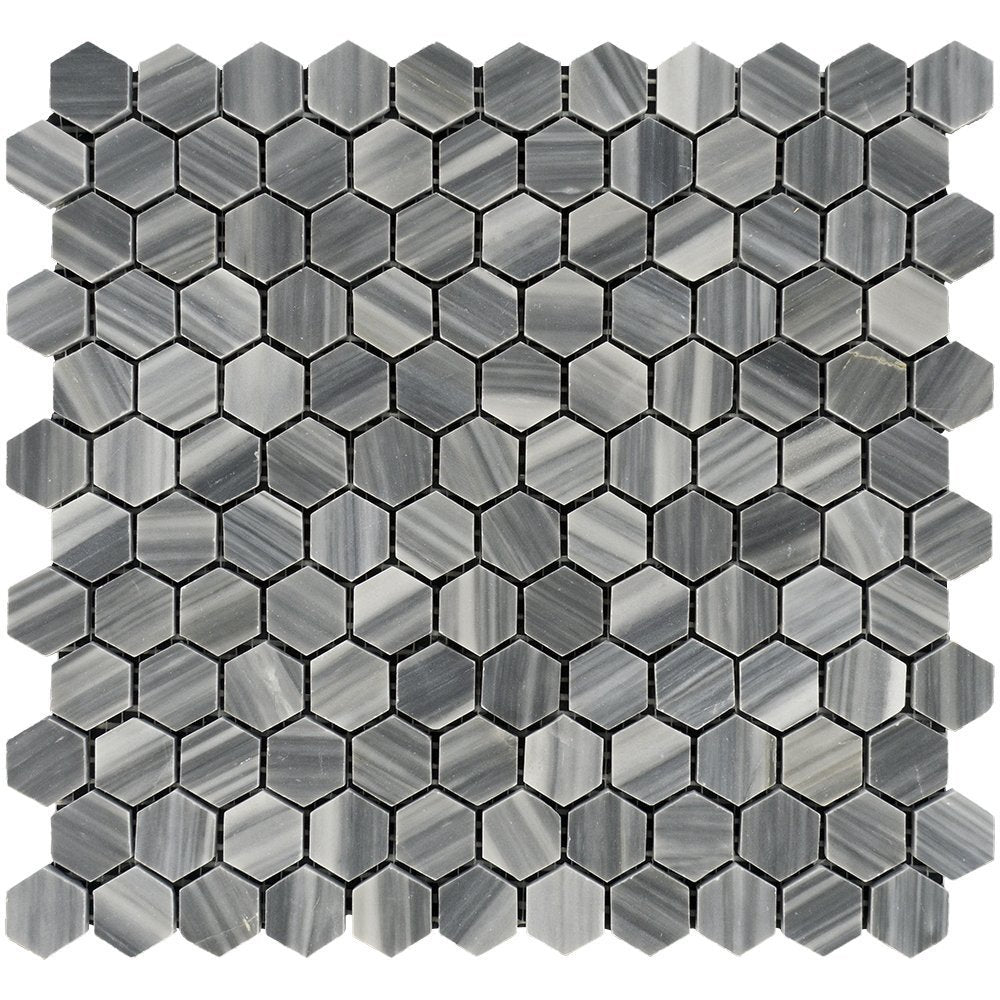 "Bardiglio Veincut Marble Mosaic - 1"" Hexagon Polished"