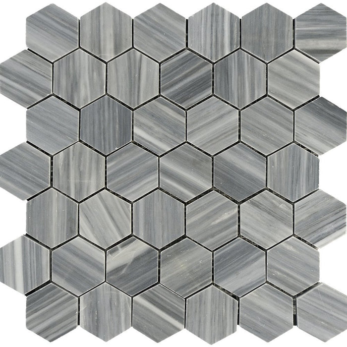 "Bardiglio Veincut Marble Mosaic - 2"" Hexagon Polished"