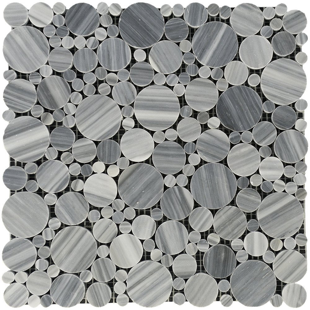 Bardiglio Veincut Marble Mosaic - Bubble Polished