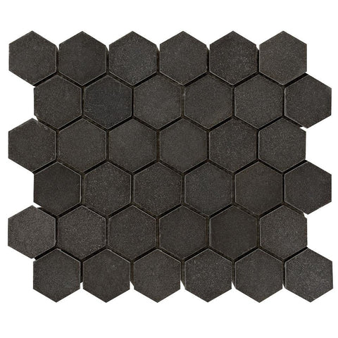 "Basalt Dark Basalt Mosaic - 2"" Hexagon Honed"