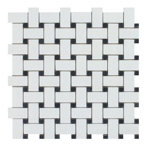 Thassos White Marble Mosaic - Basket Weave with Black Dots Honed