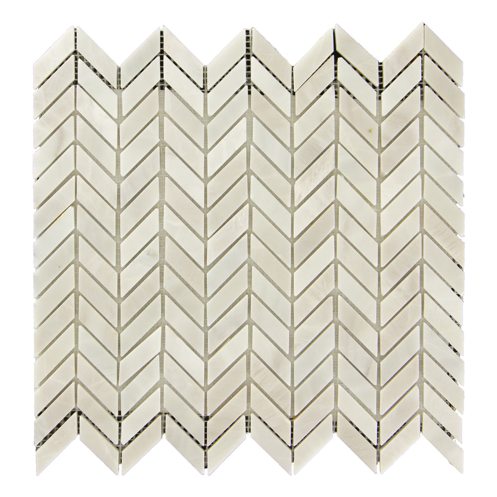 Bianco Garda Marble Mosaic - Mini Chevron Honed