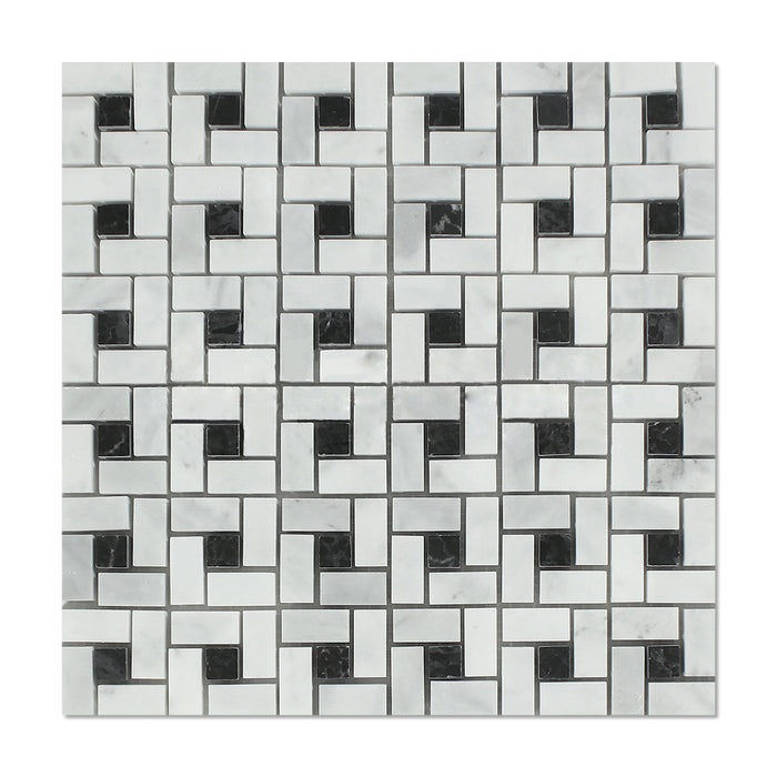 "Carrara Venatino Marble Mosaic - 5/8"" x 1 1/4"" Pinwheel with Black Dots Polished"