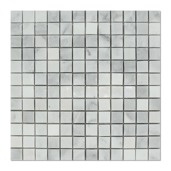 "Full Sheet Sample - Carrara Venatino Marble Mosaic - 1"" x 1"" x 3/8"" Polished"