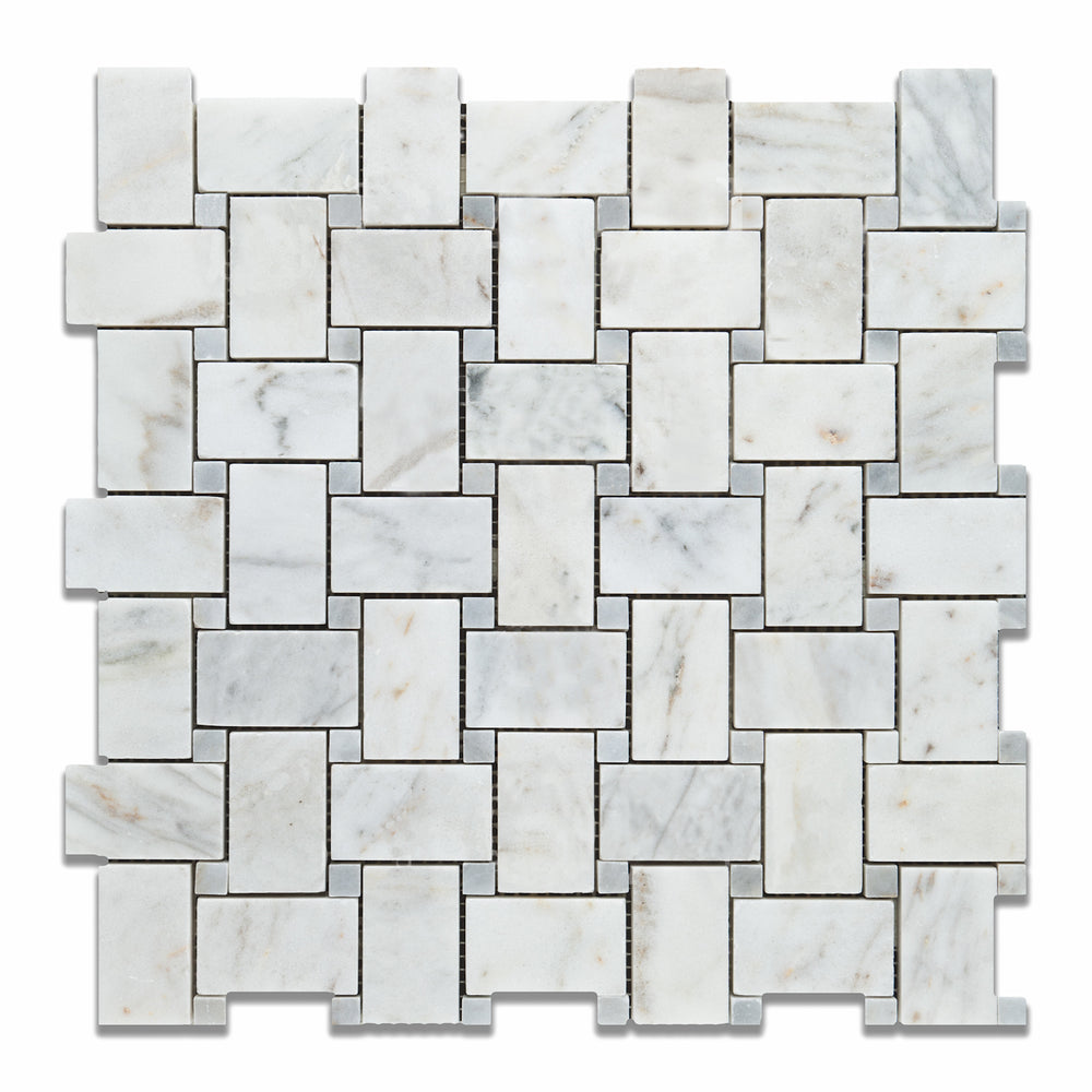 Carrara Venatino Marble Mosaic - Basket Weave with Blue-Gray Dots Polished