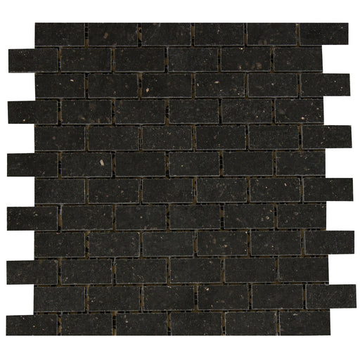 "Black Galaxy Granite Mosaic - 1"" x 2"" Brick Polished"