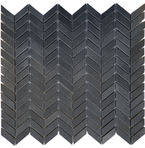 Basalt Dark Basalt Mosaic - Mini Chevron Honed