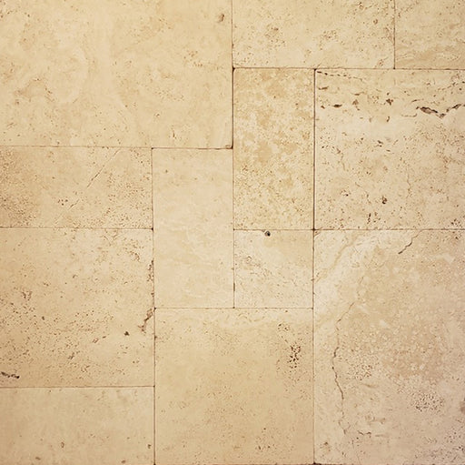 Bone Travertino Travertine Unfilled & Tumbled Versailles Pattern