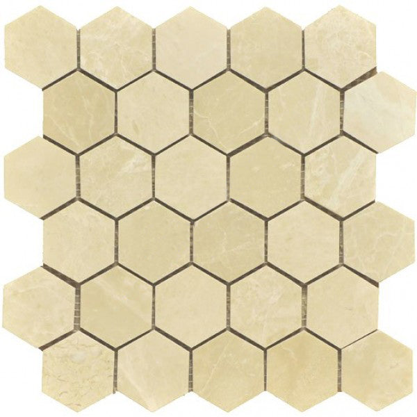 "Botticino Marble Mosaic - 2"" Hexagon Polished"