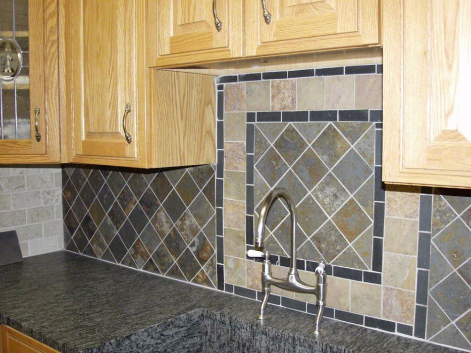 Brazilian Multicolor Natural Cleft Face, Gauged Back Slate Tile