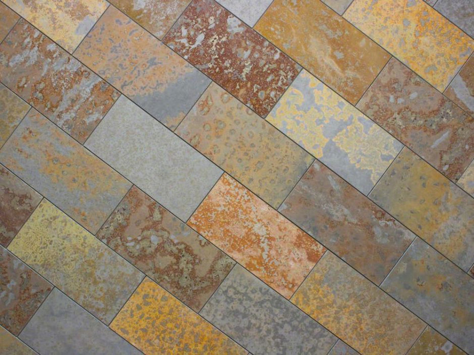 "Brazilian Multicolor Slate Natural Cleft Face, Gauged Back Tile - 3"" x 12"" x 3/8"""