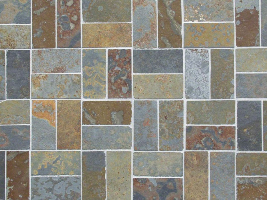 "Brazilian Multicolor Slate Natural Cleft Face, Gauged Back Tile - 8"" x 16"" x 3/8"""