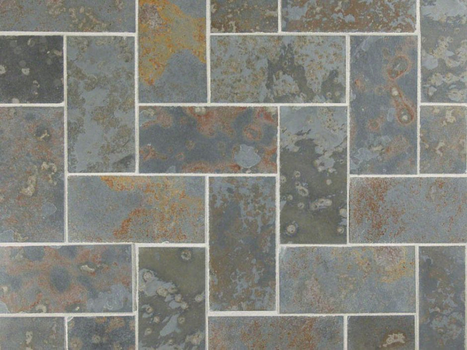 "Brazilian Multicolor Slate Natural Cleft Face, Gauged Back Tile - 4"" x 24"" x 3/8"""