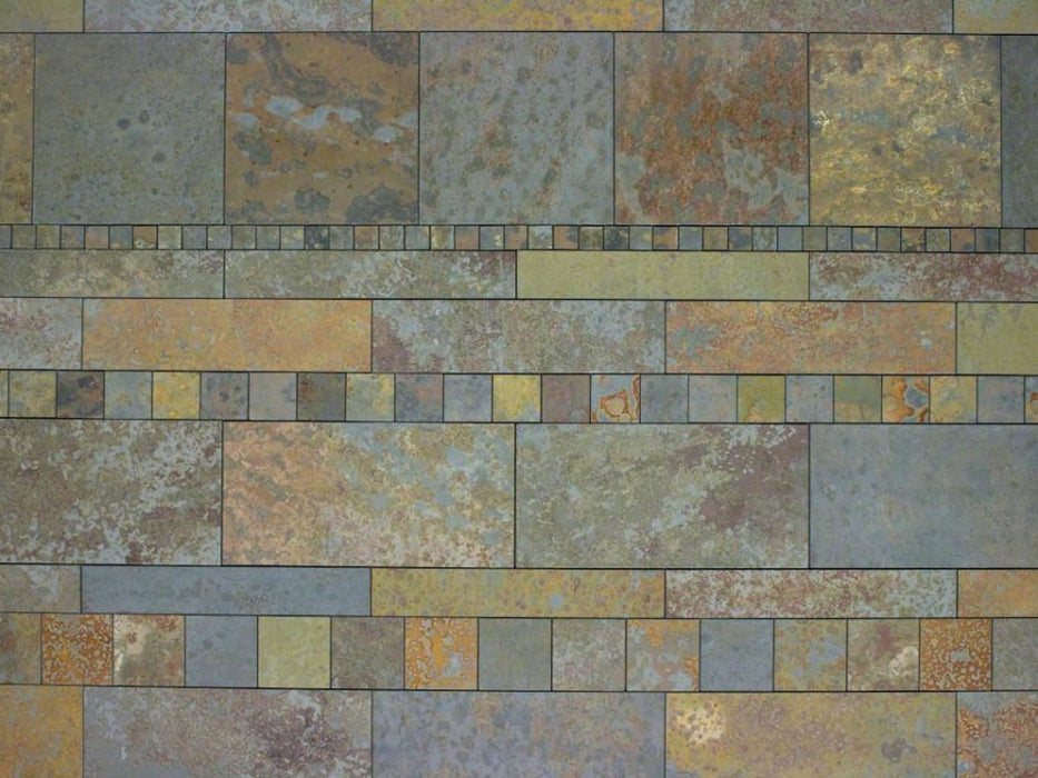 "Brazilian Multicolor Slate Natural Cleft Face, Gauged Back Tile - 6"" x 12"" x 3/8"""