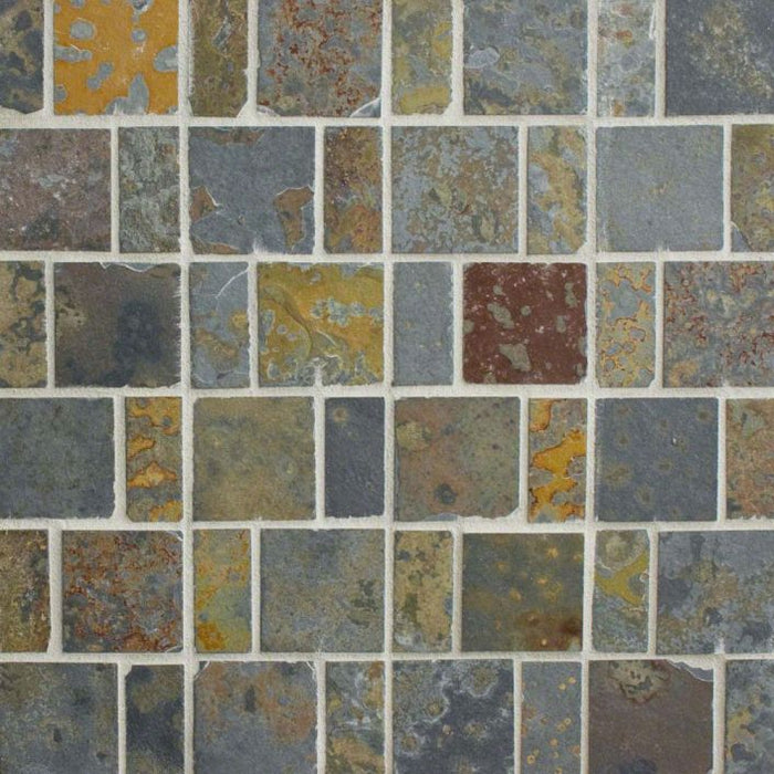 "Brazilian Multicolor Slate Natural Cleft Face, Gauged Back Tile - 8"" x 24"" x 3/8"""