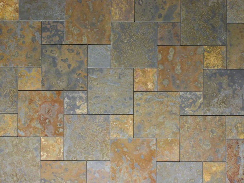 "Brazilian Multicolor Slate Natural Cleft Face, Gauged Back Tile - 6"" x 6"" x 3/8"""