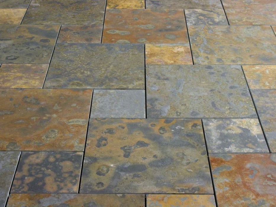 "Brazilian Multicolor Slate Natural Cleft Face, Gauged Back Tile - 8"" x 8"" x 3/8"""