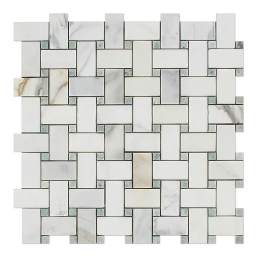 Calacatta Gold Marble Mosaic - Basket Weave with Ming Green Dots Polished
