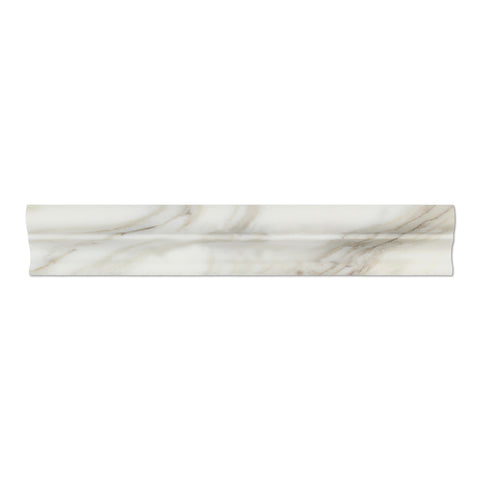 "Calacatta Gold Marble Molding - 2"" x 12"" Crown (Mercer) Molding Polished"