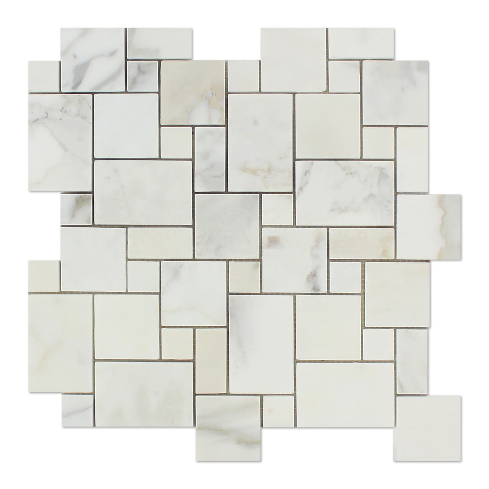 Calacatta Gold Marble Mosaic - Mini Versailles Pattern Polished