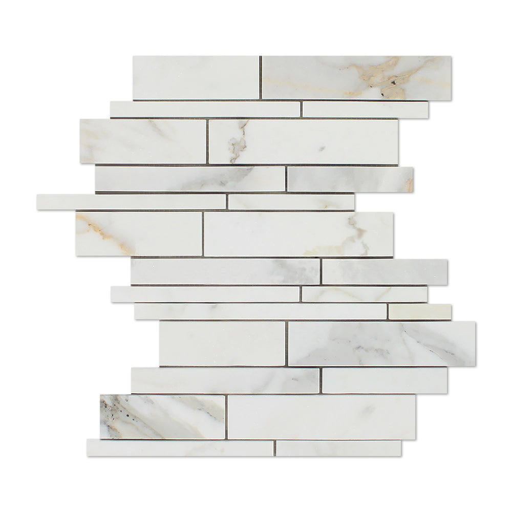 Calacatta Gold Marble Mosaic - Linear Polished