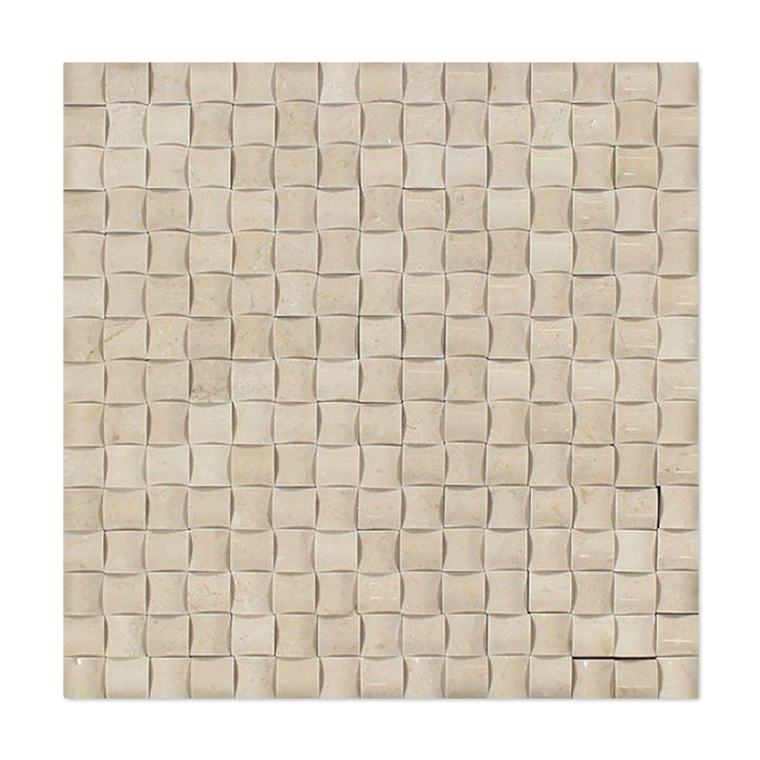 Crema Marfil Marble Mosaic - 3D Small Bread Polished