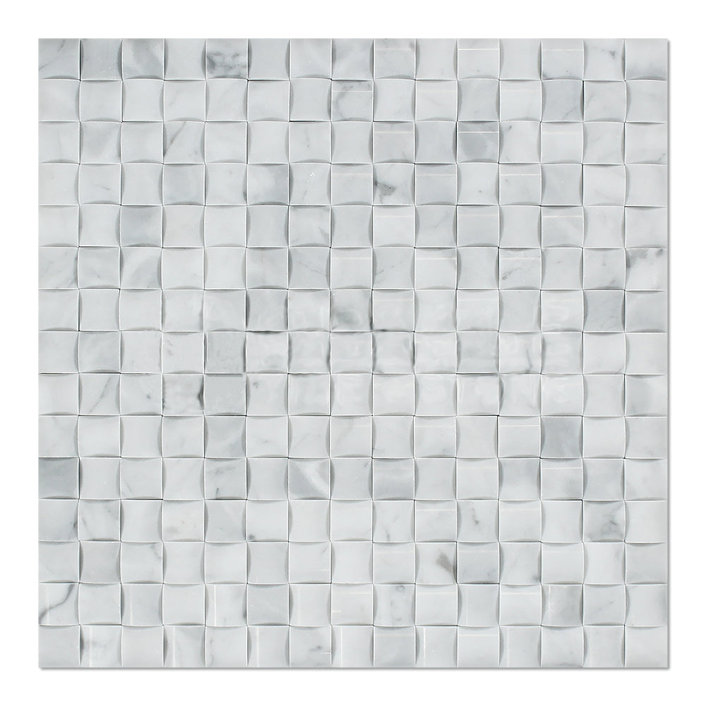 White Carrara Marble Mosaic - 3D Small Bread Polished