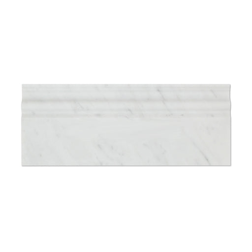 "White Carrara Marble Baseboard - 4 3/4"" x 12"" Polished"