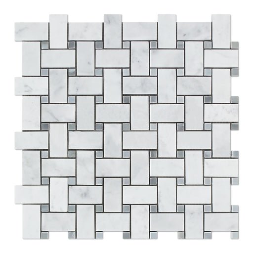 White Carrara Marble Mosaic - Basket Weave with Gray Dots Polished