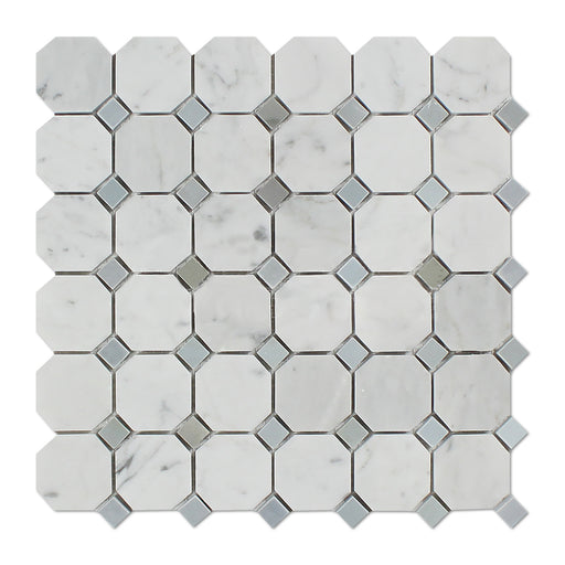 White Carrara Marble Mosaic - Octagon with Gray Dots Polished