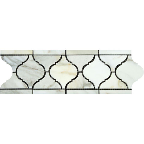 "Calacatta Gold Marble Border - 3 7/8"" x 11 5/8"" Arabesque Border Polished"