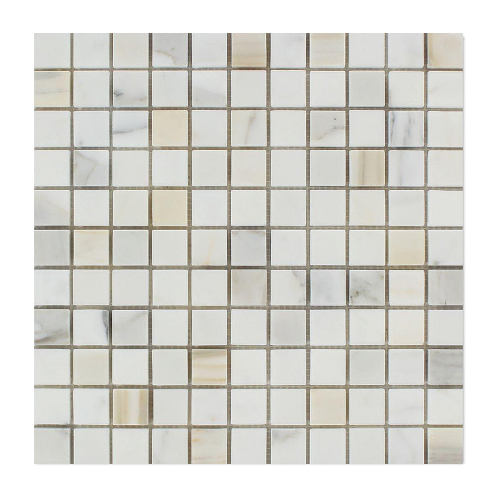 "Calacatta Gold Marble Mosaic - 1"" x 1"" Honed"