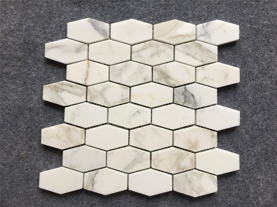"Italian Calacatta Gold Marble Mosaic - 2"" x 3"" Elongated Hexagon Honed"