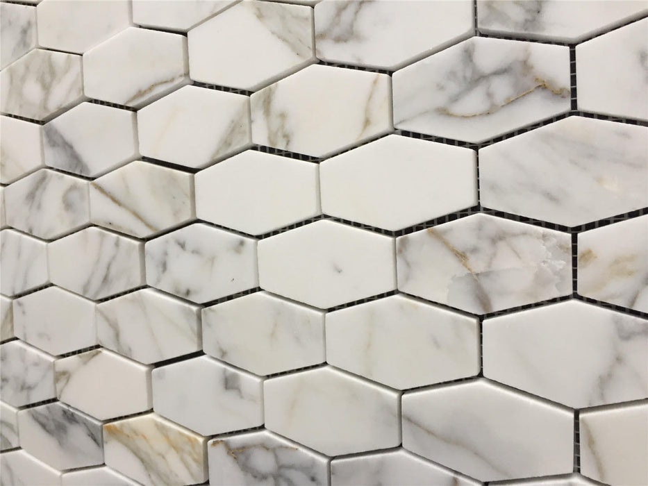 "Italian Calacatta Gold Marble Mosaic - 2"" x 3"" Elongated Hexagon"